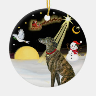 NightFlight-  Brindle Greyhound Christmas Ornament