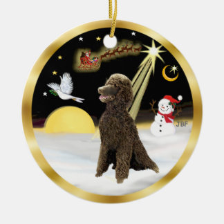 NightFlight-  Chocolate Standard Poodle Christmas Ornament