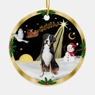 NightFlight-  Greater Swiss Mountain Dog Round Ceramic Decoration
