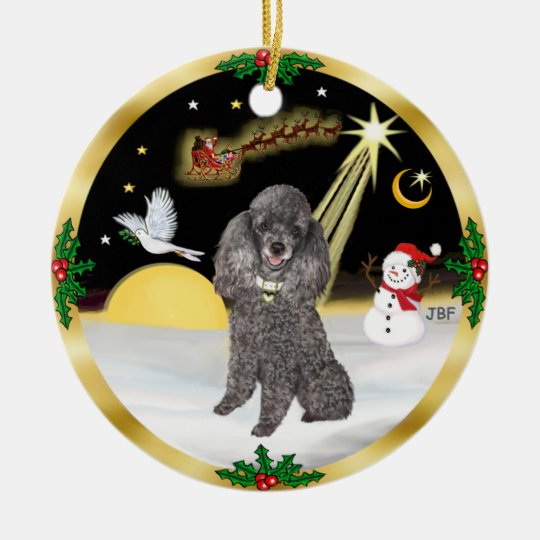 NightFlight- Silver Miniature or Toy Poodle Christmas Ornament