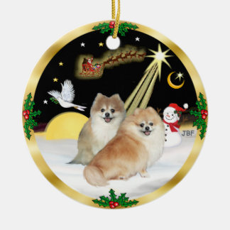 NightFlight-  Two Pomeranians Christmas Ornament