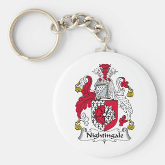 Nightingale Family Crest Basic Round Button Key Ring