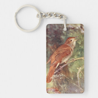 Nightingale Singing Double-Sided Rectangular Acrylic Key Ring