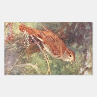 Nightingale Singing Rectangular Sticker