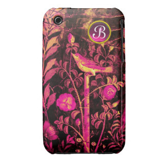 NIGHTINGALE WITH ROSES MONOGRAM, Pink Black Yellow iPhone 3 Cases