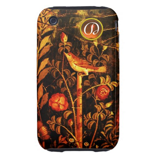 NIGHTINGALE WITH ROSES MONOGRAM, Red Black Yellow Tough iPhone 3 Covers