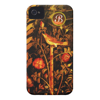 NIGHTINGALE WITH ROSES MONOGRAM, Red Black Yellow iPhone 4 Covers
