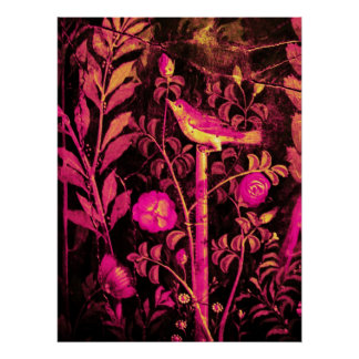 NIGHTINGALE WITH ROSES, Pink Fuchsia Black Yellow Poster