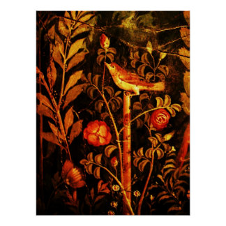 NIGHTINGALE WITH ROSES, Red Black Yellow Poster