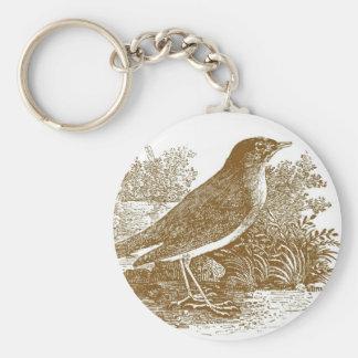 Nightingale Woodcut Basic Round Button Key Ring