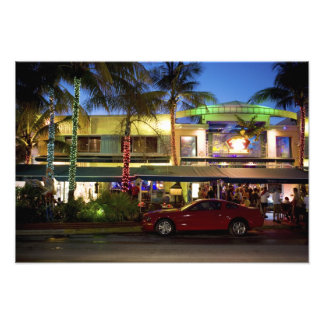 Nightlife on Ocean Drive, South Beach, Miami Photo Print