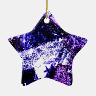 Nightmare abstract purple black design ceramic star decoration