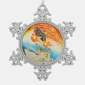 Nightmare  and Mesa Pegasus Yin Yang Snowflake Pewter Christmas Ornament
