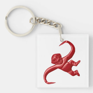 Nightmare Retro Toy Monkey Double-Sided Square Acrylic Key Ring
