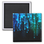 Nights Of Rain and Stars Meteor Shower Blue Square Magnet