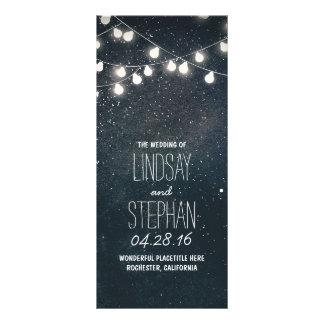 Nights Stars and String Lights Wedding Programs Rack Card
