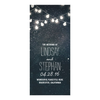 Nights Stars and String Lights Wedding Programs Rack Card Template