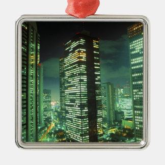 Nightscape, Shinjuku, Tokyo, Japan Silver-Colored Square Decoration