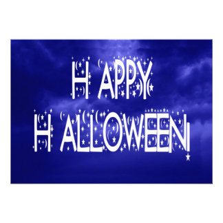 Nighttime Blue Happy Halloween Text Invitation
