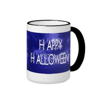 Nighttime Blue Happy Halloween Text Mug