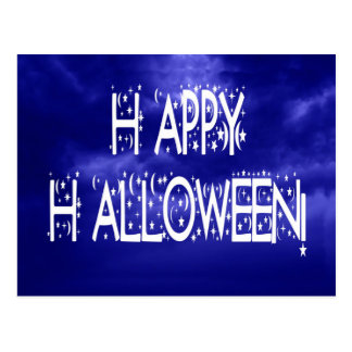Nighttime Blue Happy Halloween Text Postcard