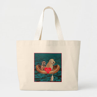 """Nighttime Canoe Ride with Best Friend"" Jumbo Tote Bag"