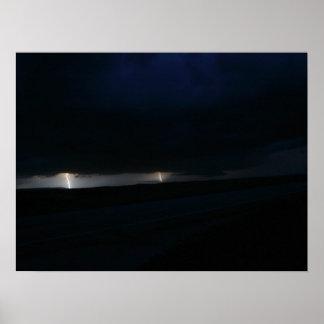 Nighttime Double Lightning Strike Poster