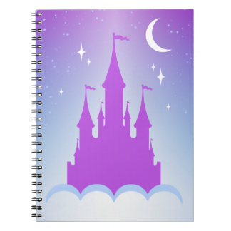 Nighttime Dreamy Castle In The Clouds Starry Sky Note Books