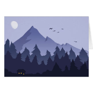 Nighttime in a Mountain Cabin Greeting Card