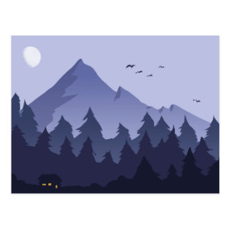 Nighttime in a Mountain Cabin Postcard
