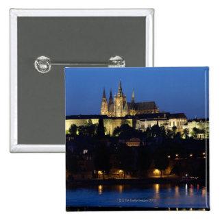Nighttime in Prague, Czech Republic 15 Cm Square Badge