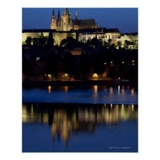 Nighttime in Prague, Czech Republic Poster
