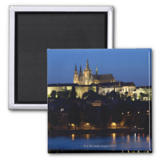 Nighttime in Prague, Czech Republic Square Magnet