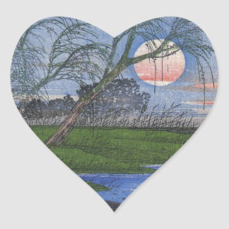Nighttime River Scene Heart Sticker