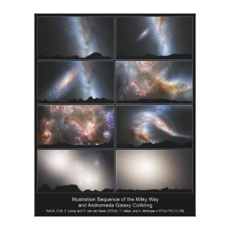 Nighttime Sky View of Future Galaxy Merger Stretched Canvas Prints