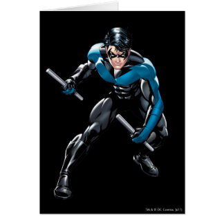 Nightwing with Weapons Greeting Card