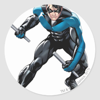 Nightwing with Weapons Round Sticker