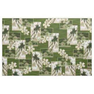 Niihau Island Hawaiian Plumeria and Palm Tree Fabric