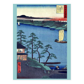Niishuku ferry by Andō, Hiroshige Ukiyo-e.  Postcard