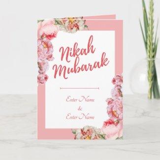 Nikah Mubarah Muslim Wedding Congratulation Card