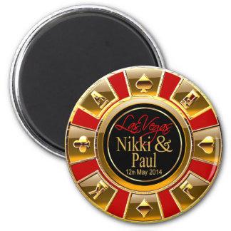 Nikki & Paul Las Vegas Gold Casino Chip Favor 6 Cm Round Magnet