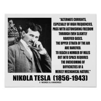 Nikola Tesla Alternate Currents Mechanical Nature Poster