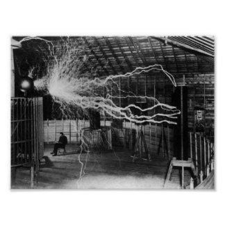 Nikola Tesla - Bolts Of Electricity Poster