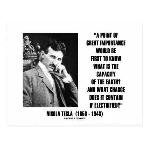 Nikola Tesla Capacity Of Earth Charge Electrified Postcard