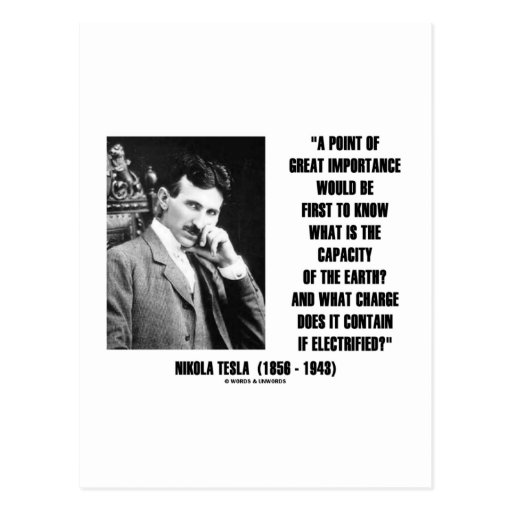 Nikola Tesla Capacity Of Earth Charge Electrified Post Cards