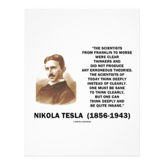 Nikola Tesla Clear Thinkers Sane To Think Clearly Personalized Flyer