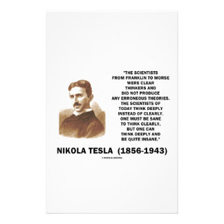 Nikola Tesla Clear Thinkers Sane To Think Clearly Stationery