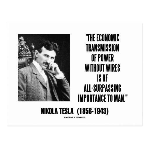 Nikola Tesla Economic Transmission Of Power Postcards