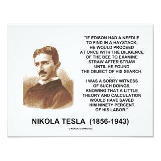 Nikola Tesla Edison Needle Haystack Theory Quote 11 Cm X 14 Cm Invitation Card