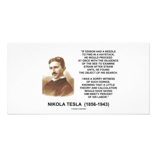 Nikola Tesla Edison Needle Haystack Theory Quote Photo Card Template